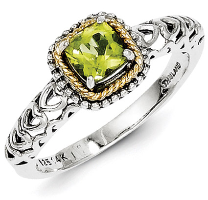 Peridot Silver & 14K Gold Heart Band Ring
