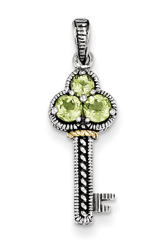 Peridot Silver Key Pendant