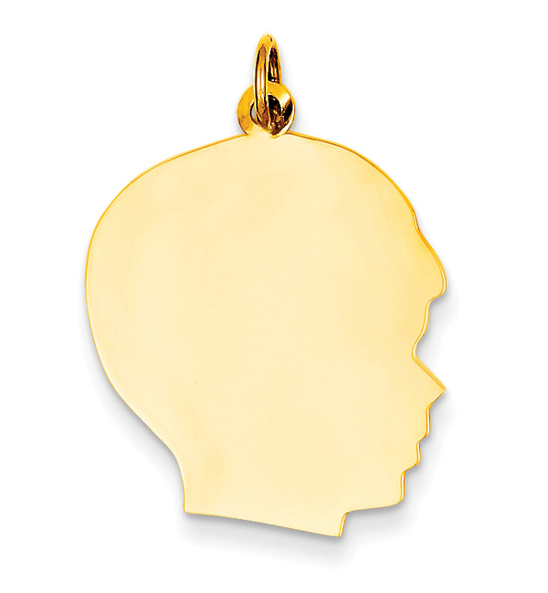 14K Gold Engravable Boy Girl Head Pendant