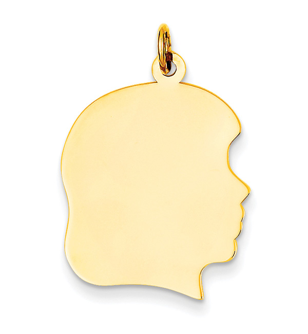 14K Gold Engravable Girl Head Pendant