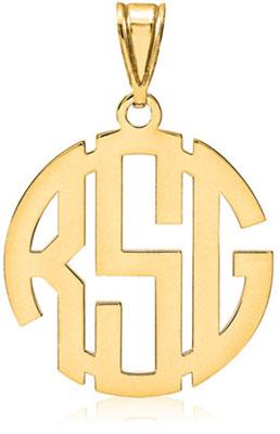 Classic Monogram Pendant, 14K Gold