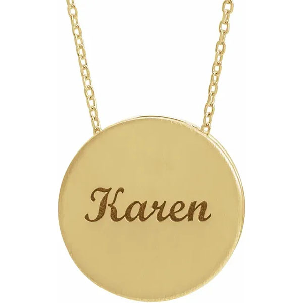 14K Gold Personalized Engravable Scroll Disc Pendant Necklace