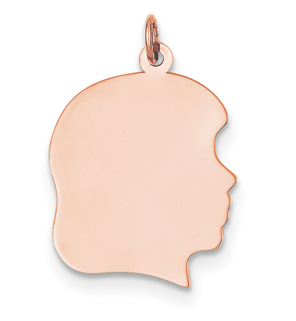 14K Rose Gold Engravable Girl Head Pendant