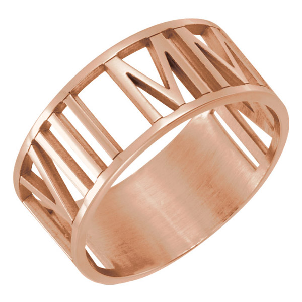 14K Rose Gold Custom Roman Numeral Date Wedding Band Ring