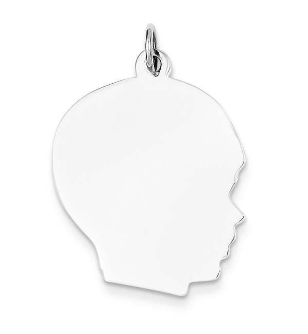14K White Gold Engravable Boy Head Pendant