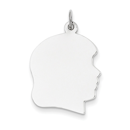 14K White Gold Engravable Girl Head Pendant