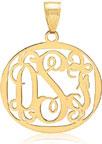 Filigree Monogram Medallion Pendant, 14K Gold