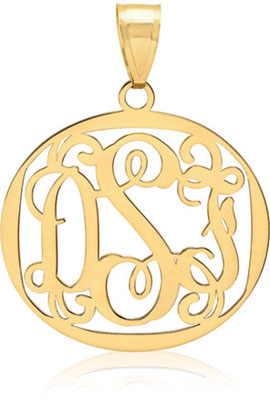 Filigree Monogram Medallion Pendant, 14K Gold