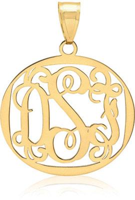 Filigree monogram medallion pendant 14k gold mozeypictures Image collections