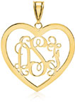 Heart Monogram Pendant, 14K Yellow Gold