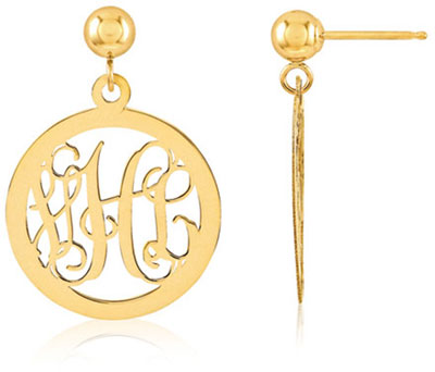 Monogram Medallion Earrings, 14K Gold