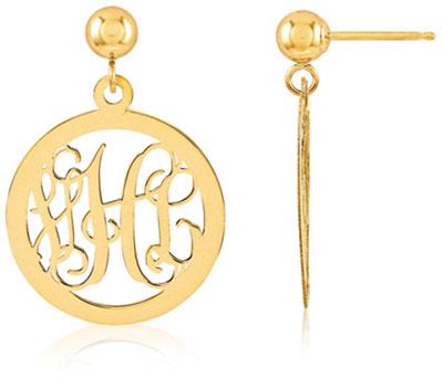 Monogram Medallion Earrings, 14K Gold