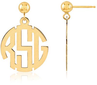 Classic Monogram Earrings, 14K Gold