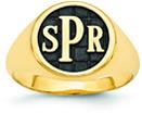 Men's Enameled Monogram Signet Ring, 14K Gold