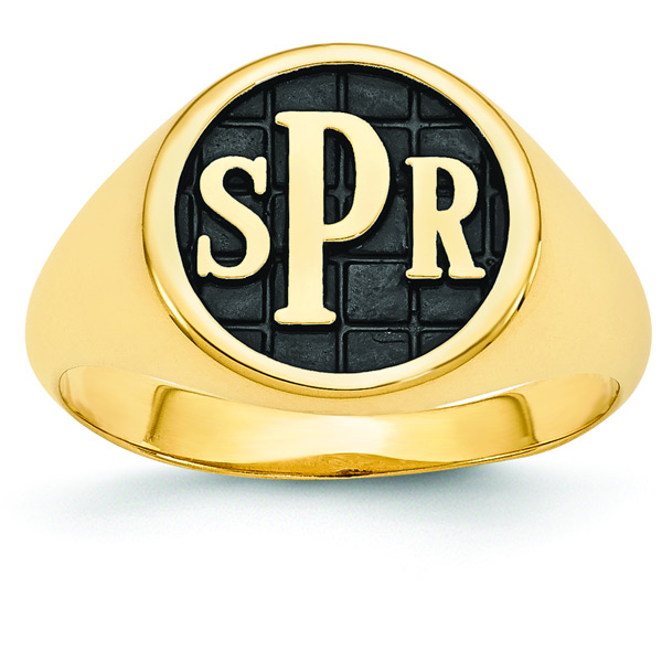 Men's Enameled Monogram Signet Ring, 14K Gold