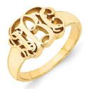 14K Yellow Gold Monogram Ring
