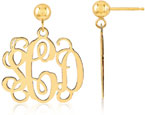 14K Yellow Gold Monogram Earrings