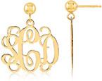 14K Yellow Gold Monogram Earrings