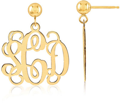 monogram name hoop circle en monogrammed round earrings