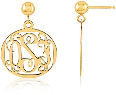 Filigree Monogram Medallion Earrings, 14K Gold