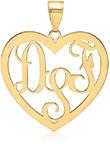 14K Yellow Gold Heart Monogram Pendant