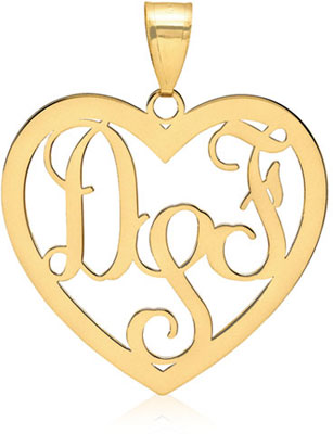 14K Yellow Gold Heart Monogram Pendant