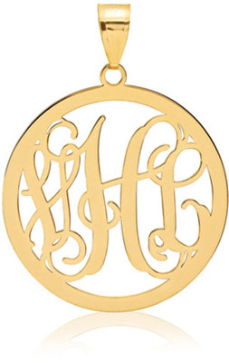 Monogram Medallion Pendant, 14K Gold