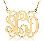 Monogram Necklace, 14K Yellow Gold