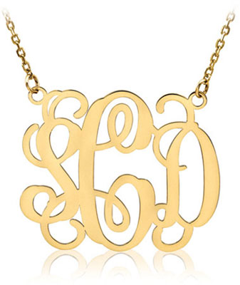 Monogram necklace 14k yellow gold mozeypictures