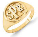 Men's Monogram Ring, 14K Gold