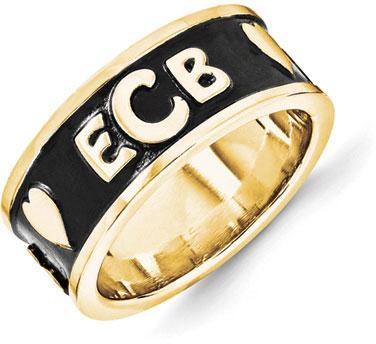 Enameled Monogram Ring in 14k Gold