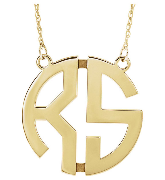 2-Letter Women's Gold Custom Monogram Necklace
