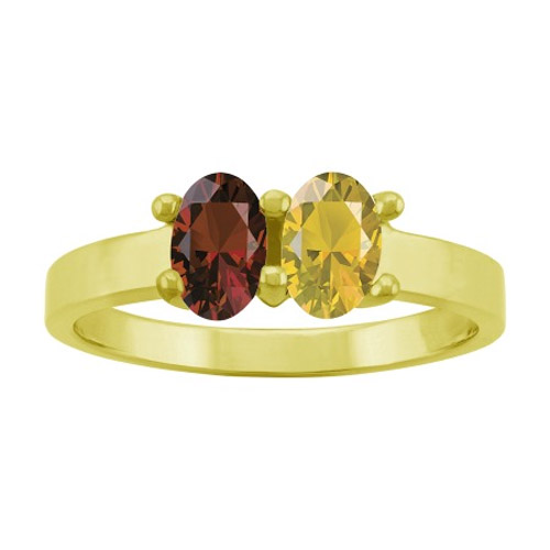 2-Stone Custom Gold Engravable Gemstone Mother's Ring