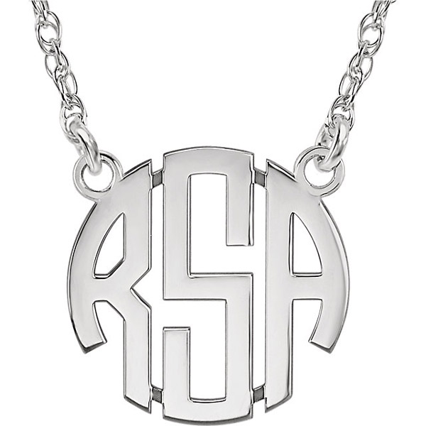 Small Women's 14K White Gold 3-Letter Block Monogram Necklace