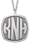 3-Letter Block Monogram Necklace in Sterling Silver