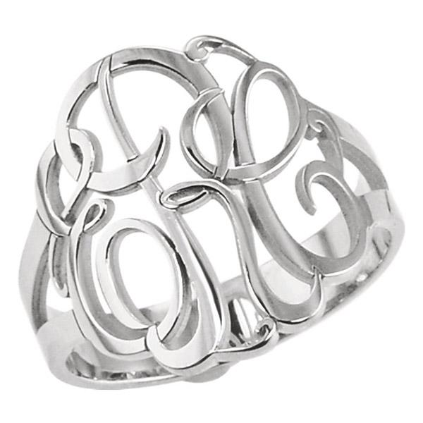 3 Letter Script Monogram Ring for Women in Sterling Silver