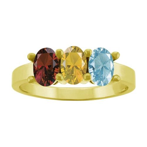 3 Stone Custom Gemstone Mother's Ring in Gold