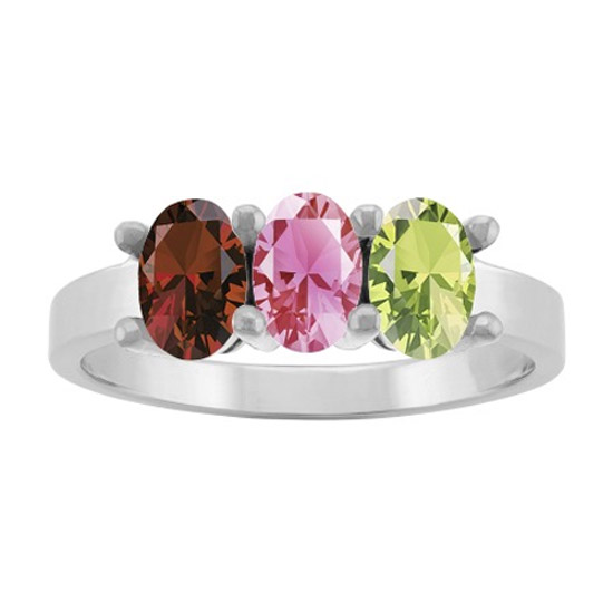 3 Stone Personalized Gemstone Mother's Ring, White Gold