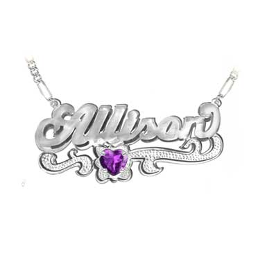 Custom Name Necklace with Heart Birthstone in Sterling Silver
