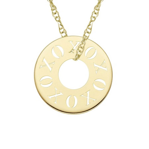 XOXO Stamped Circle Necklace in Gold