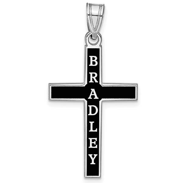 Antiqued 14K White Gold Cross Name Pendant
