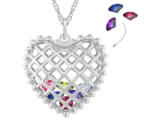 Birthstones Inside Heart Necklace in White Gold