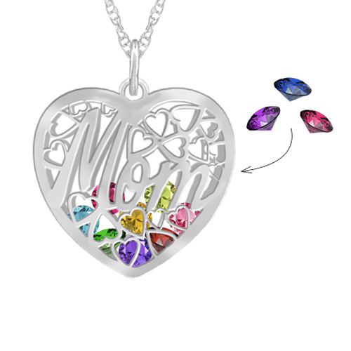 birthstones inside mom heart neklace