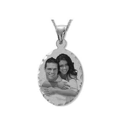 Black and White Sterling Silver Oval Photo Necklace with Diamond-Cut Edges