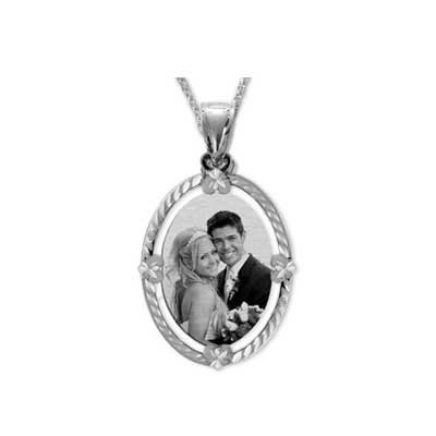 White Gold Black and White Photo Necklace Pendant