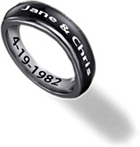 Black Personalized Engraved Stainless Steel Spinner Ring for Women