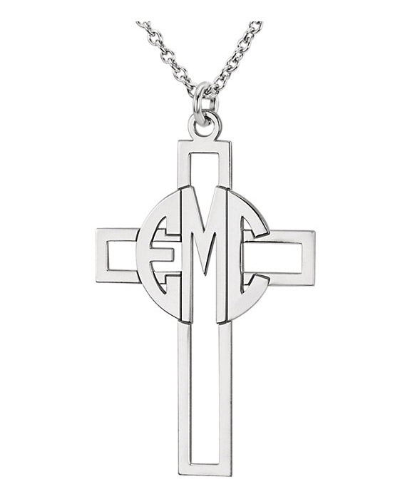 Block Monogram Cross Necklace in Sterling Silver