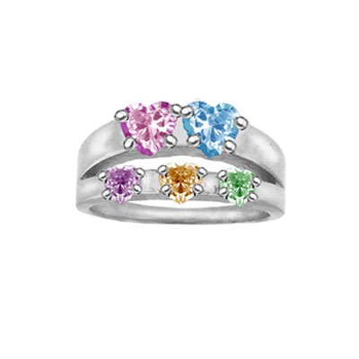Cubic Zirconia Family Heart Birthstone Ring in Sterling Silver