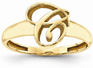 Custom Cursive Initial Ring in 14K Yellow Gold