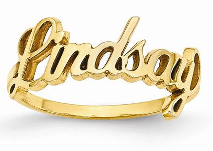 Custom Cursive Name Ring in 14K Yellow Gold
